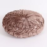 Velvety Round Cushion in Brown, 30 cm